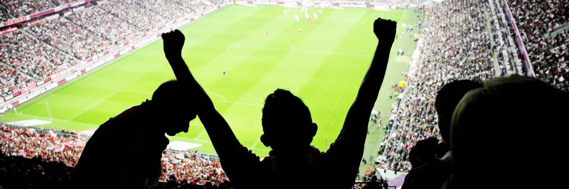 Silhouette of a football fan with their arms in the air