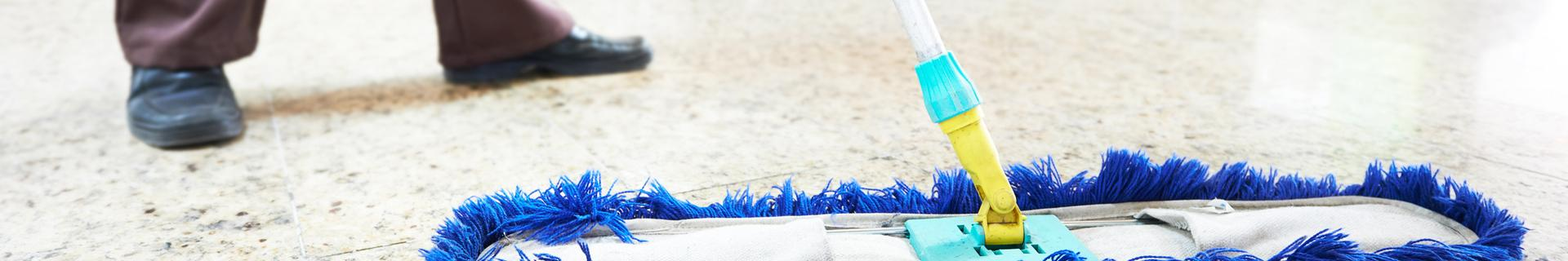 A cleaner using a mop