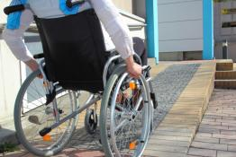 Wheelchair on ramp