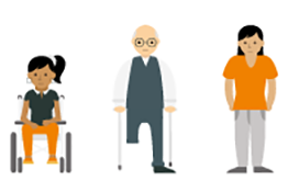 Infographic figures representing disability