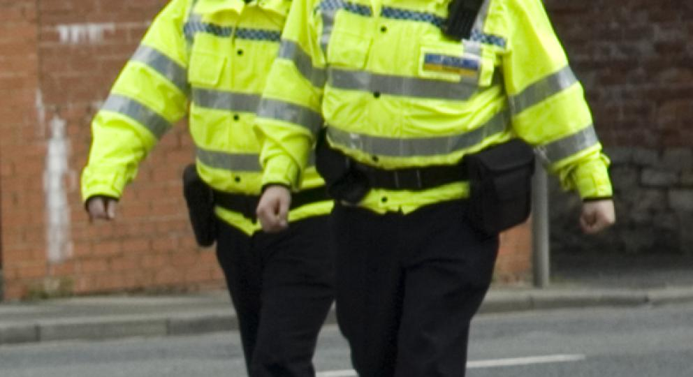 wheelchair user approaching two police officers