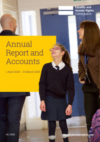 Annual Report and Accounts 2018-19 front cover, showing a photograph of a laughing girl in school uniform