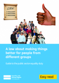 This is the cover of A law about making things better for people from different groups easy read publication