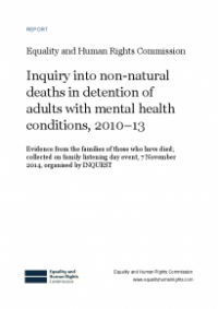 This is the Inquiry into non-natural deaths in detention of adults with mental health conditions 2010-13 family day report