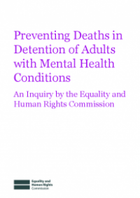 This is the cover of Preventing deaths in detention of adults with mental health conditions