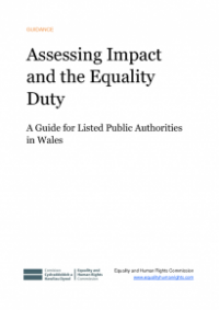 This is the cover of Assessing impact and the equality duty publication