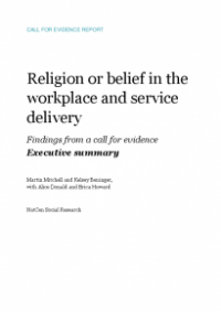 This is the cover of Religion or belief in the workplace and service delivery