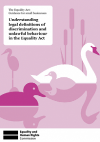 This is the cover of Understanding legal definitions of discrimination and unlawful behaviour in the Equality Act