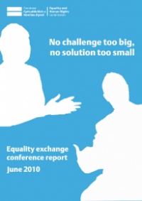 This is the cover of No challenge too big, no solution too small. Equality exchange conference 2010.