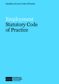 This is the cover for Employment statutory code of practice publication