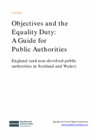 This is the cover of Objectives and the equality duty: a guide for public authorities