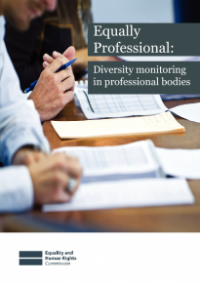 This is the cover of Equally profeessional: diversity monitoring in professional bodies publication