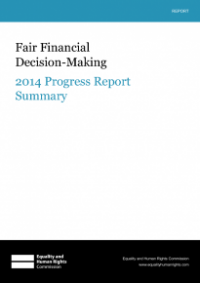 This is the cover of Fair financial decision-making 2014 progress report summary publication