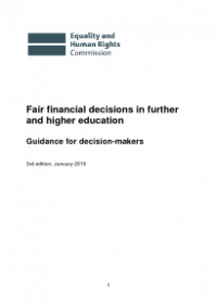 This is the cover of Fair financial decisions in futher and higher education guidance publication
