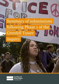 Front cover of summary of submissions following Phase 1 of the Grenfell Tower inquiry