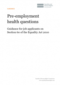 This is the cover of Pre-employment health questions: Guidance for job applicants on Section 60 of the Equality Act 2010