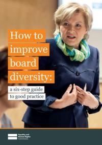The cover of the Commission's How to improve board diversity guide publication