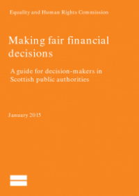 This is the cover for Making fair financial decisions guidance for decision makers in Scotland