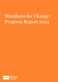This is the cover for Manifesto for change progress report 2013
