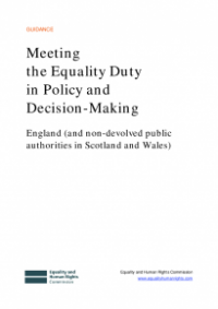 This is the cover of Meeting the equality duty in policy and decision-making England