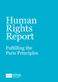 This is the cover of Human rights report: fulfilling the Paris Principles
