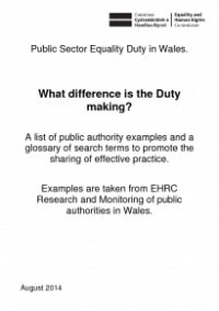 This is the cover of Public sector equality duty in Wales: What difference is the duty making?