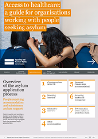 Publication cover: a guide to access to healthcare for people seeking asylum