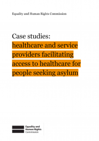 Publication cover: case studies for organisations supporting people seeking asylum to access healthcare