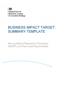 Publication cover: business impact target reporting