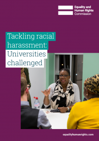 Publication cover: tackling racial harassment in universities
