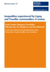 This is the cover of Research report 12: Inequalities experienced by Gypsy and Travellor communities review