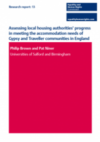 This is the cover of Research report 13: Assessing local housign authorities progress in meeting the accomodation needs of Gypsy and Traveller communities in England