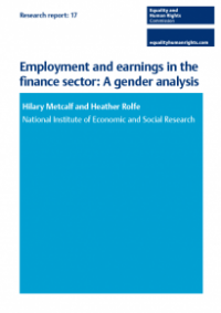 This is the cover of Research report 17: Employment and earnings in the finance sector - gender analysis