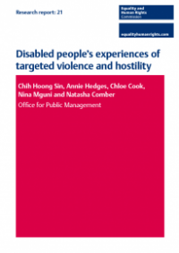 This is the cover of Research report 21: Disabled people's experiences of targeted violence and hostility