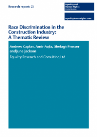 This is the cover of Research report 23: Race discrimination in the construction industry - a thematic review