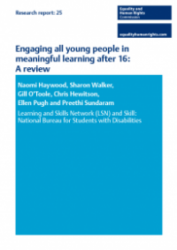 This is the cover of Research report 25: Engaging all young people in meaningful learning after 16 - review