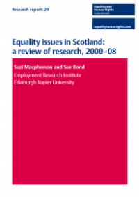 This is the cover for Research report 29: Equality issues in Scotland - a review of research 2000-08