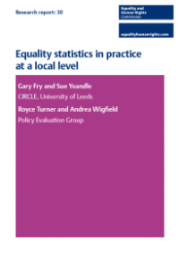 This is the cover for Research report 30: Equality statistics in practice at a local level