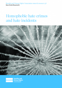 This is the cover or research summary 38: Homophobic hate crimes and incidents