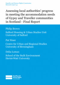 This is the cover for Research report 44: Assessing local authorities progress in meeting the accomodation needs of Gypsy and Traveller communities in Scotland - Final Report