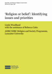 This is the cover for Research report 48: 'Religion or belief' - identifying issues and priorities