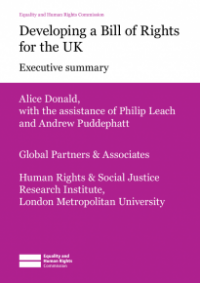 This is the cover for Research report 51: Developing a Bill of Rights for the UK executive summary