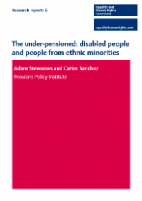 This is the cover of Research report 5: The under-pensioned - disabled people and people from ethnic minorites