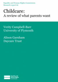 This is the cover of Research report 66: Childcare - a review of what parents want