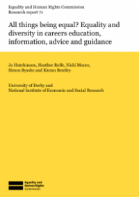 This is the cover of Research report 71: All things being equal? Equality and diversity in careers education, information, advice and guidance