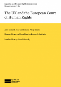 This is the cover of Research report 83: The UK and the European Court of Human Rights