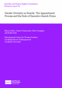 This is the cover of Research report 85: Gender diversity on Boards publication