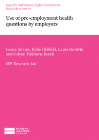 This is the cover of Research report 87: Use of pre-employment health questions by employers