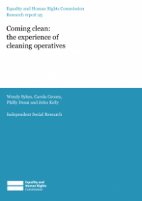 This is the cover of Research report 95: Coming clean - the experience of cleaning operatives