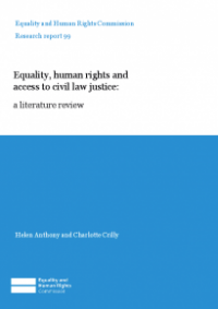 This is the cover for Research report 99: Equality, human rights and access to civil justice